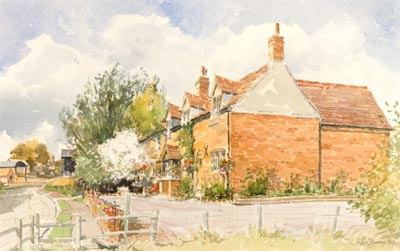 A Warwickshire Country Cottage - watercolour by John Davis