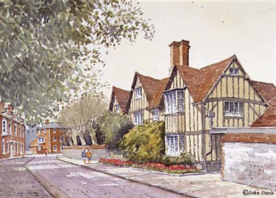 Hall's Croft - a watercolour by John Davis