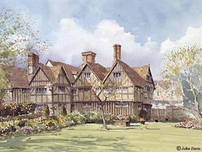 Rear of Hall's Croft (Shakespeare's Daughter's House) A Watercolour by John Davis &amp;#169;