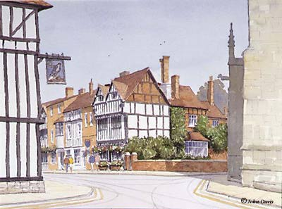 New Place (viewed from The Guild) A Watercolour by John Davis &amp;#169; 