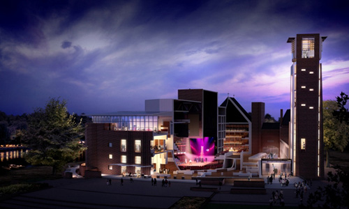 The newly reopened RSC Theatres - Waterside, Stratford-upon-Avon - visualisation by Hayes Davidson